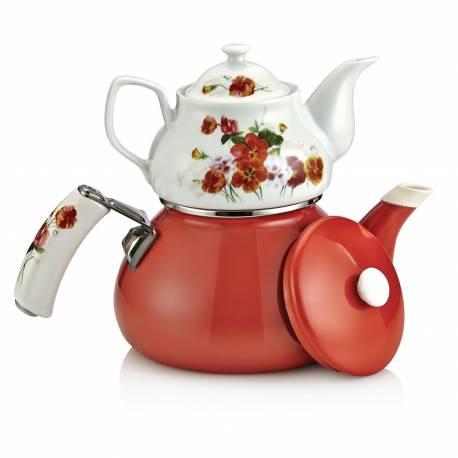 Schafer Teerose Porcelain burgundy Tea Pot Set