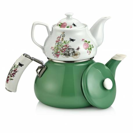 Schafer Teerose Porcelain Green Tea Pot Set
