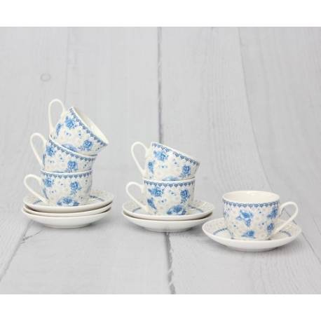 Night Bouquet Turkish Coffee Cups And Saucers Set