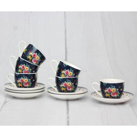 Flower Garden Turkish Coffee Cups And Saucers Set