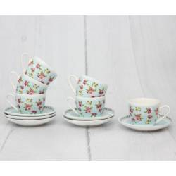 Blue Rose Turkish Coffee Cups And Saucers Set