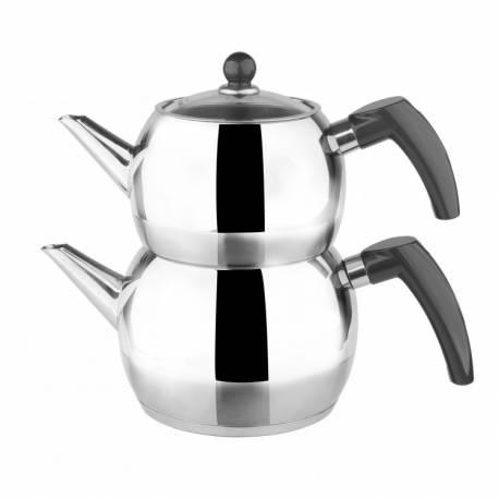 Karaca Gray Tomurcuk Steel Teapot Set