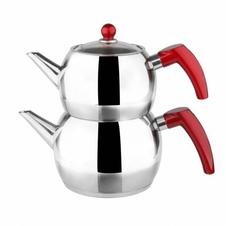 Karaca Red Tomurcuk Steel Teapot Set