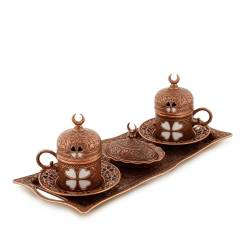 Clover and Crescent Copper Authentic Coffee Cup Set
