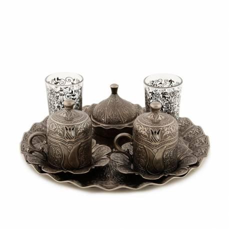 Sultan Lalezar Authentic Coffee Cup Set nikel