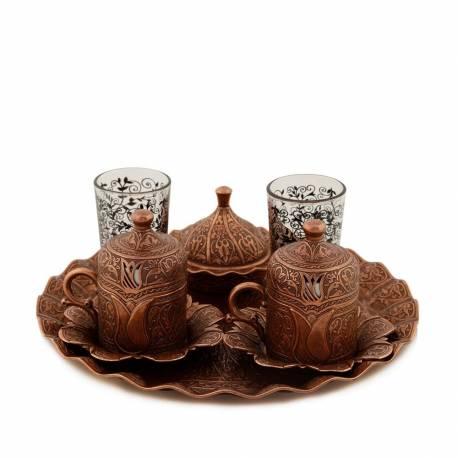 Sultan Lalezar Authentic Coffee Cup Set Antic Coppper