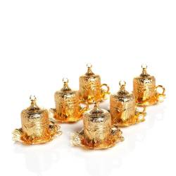 Lalezar 6 Coffee cups Gold Yellow Crescent