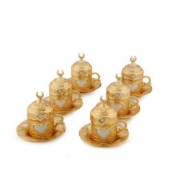 Lalezar Hearts 6 Coffee cups Gold Color
