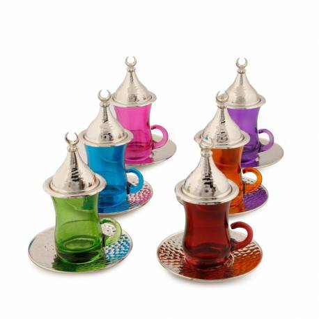 Drop Tea Set Mixed Color Handle Nickel Round Plate