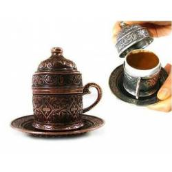 Ottoman patterned copper Turkish coffee cup.