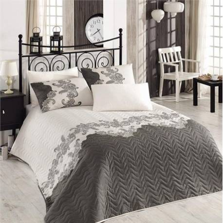 Eponj Home Quilted Bedspread Set Double Mixscarlet Beige