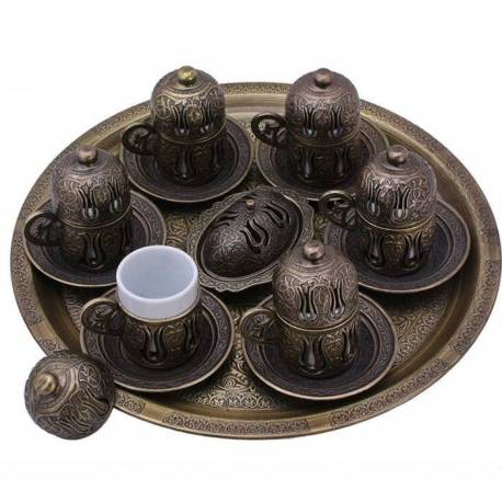 Copper Turkish Coffee Cup Sets, for 6 people