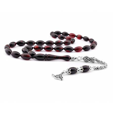 1000 Sterling Silver,Red Black Moire Amber Rosary