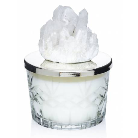 Natural stone cut crystal candle holders (White Quartz)