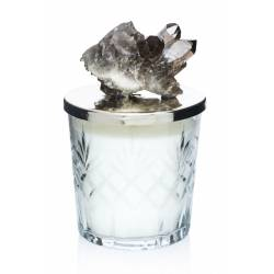 Natural stone cut crystal candle holders (Black Quartz)