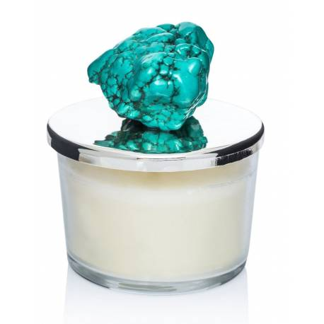Natural stone cut crystal candle holders (turquoise)
