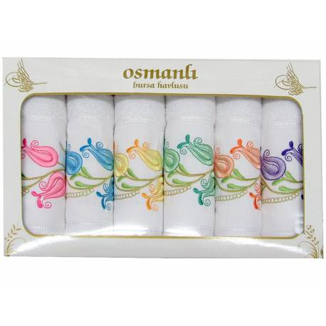 Six Pack Embroidered Hand Face Bursa Towels