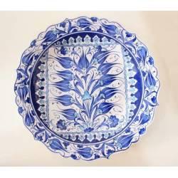Navy Blue Tulip Pattern Iznik Pottery Plate 30 Cm