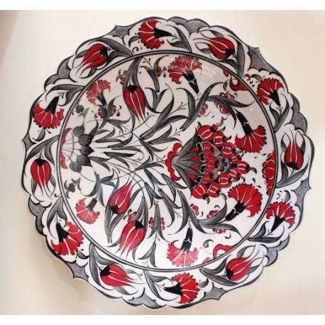 Carnation and Tulip Garden Pattern Iznik Pottery Plate 30 Cm