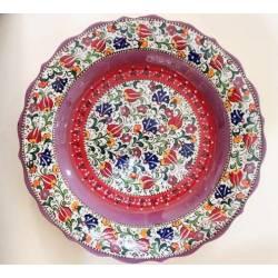 Tulips Pattern Iznik Pottery Plate 30 Cm