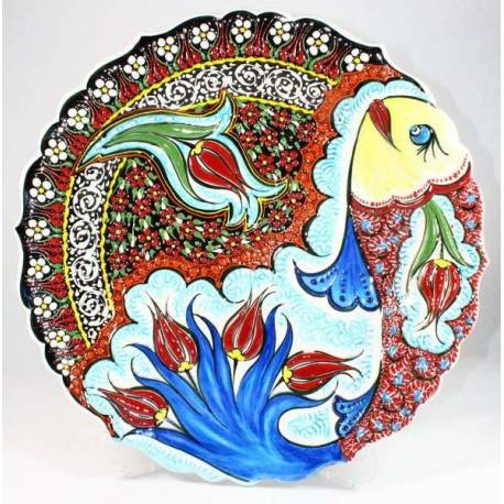 Fish and Tulip Pattern Kutahya Pottery Plate 30 Cm