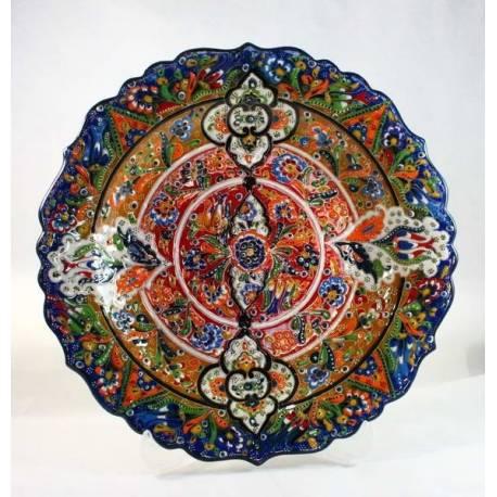 Kutahya Handmade Relief Pottery Plate 30 Cm
