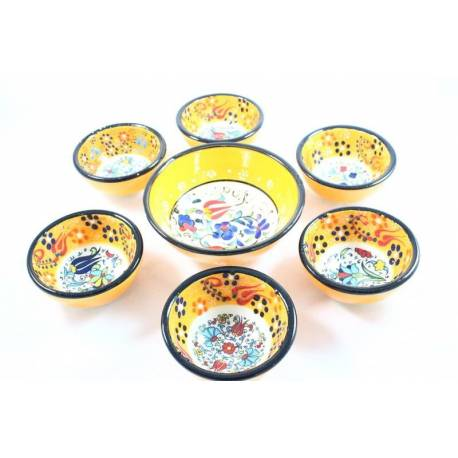 Orange Colored 6 + 1 Tile Bowls Set