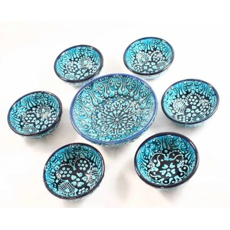 Turquoise Colored 6 + 1 Tile Bowls Set