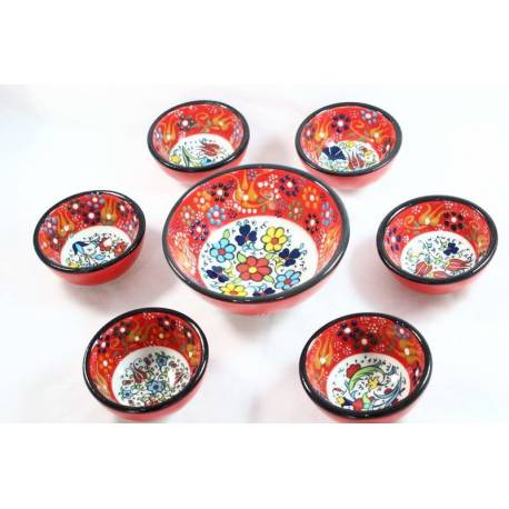 Red Colored 6 + 1 Tile Bowls Set