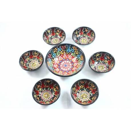 Ottoman Tile Pattern 6 + 1 Tile Bowls Set