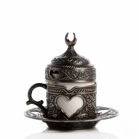 Hearted Porcelain Cup Antique Nickel