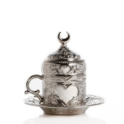Hearted Porcelain Cup Antique Silver Color
