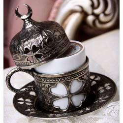Clover Coffee Cup Antique Nickel Crescent