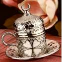 Clover Coffee Cup Antique Silver Crescent
