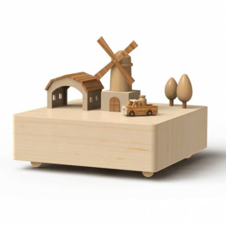 Wooderful Life Music Box Windmill and Truck