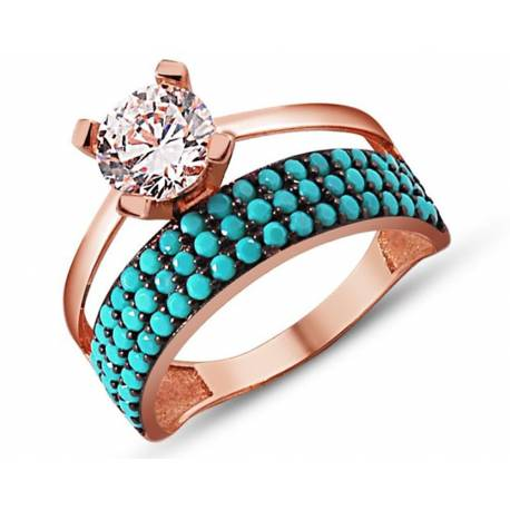 925 Silver Rose Color Half Tour Solitaire Ring
