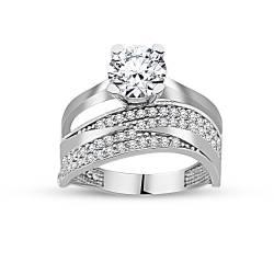 925 Sterling Silver Three Row Half Round Solitaire Ring