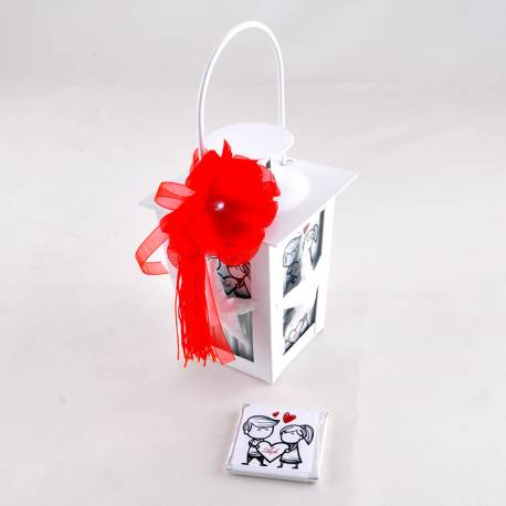 Small White Lantern Madlen Chocolate Valentine Gift