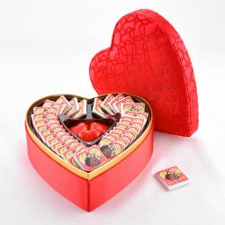 Customizable Red Heart in Box Photo Madlen and Heart Chocolate