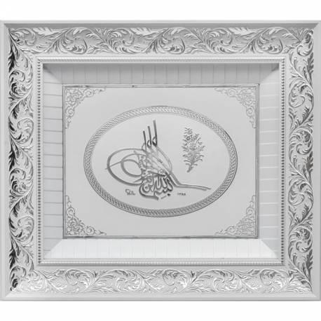 Ottoman Tugra Silver White color