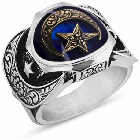 Enamel Silver Moon star Model Special Design Ring