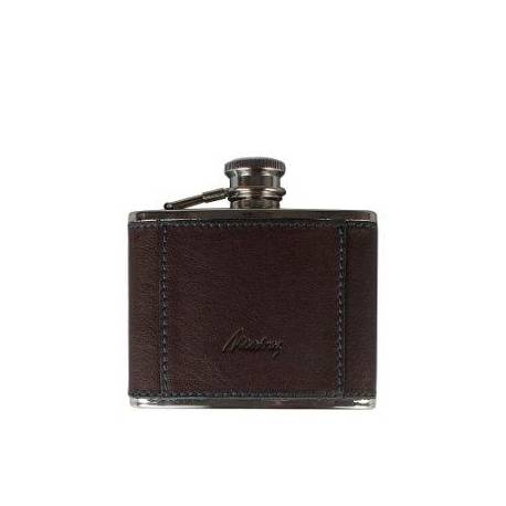 Leather Coated Metal Canteen - Brown