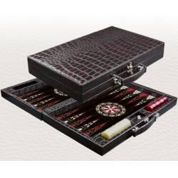 Leather Backgammon set Crocodile