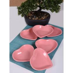 Keramika 6 piece 14 Cm Pink heart Appetizer Plate