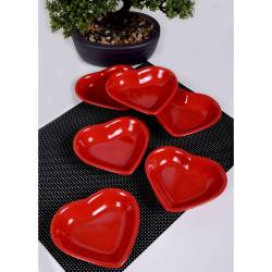 Keramika 6 piece Red Heart Appetizer Plate