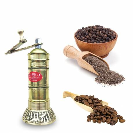 Brass half plump black pepper and coffee grinder
