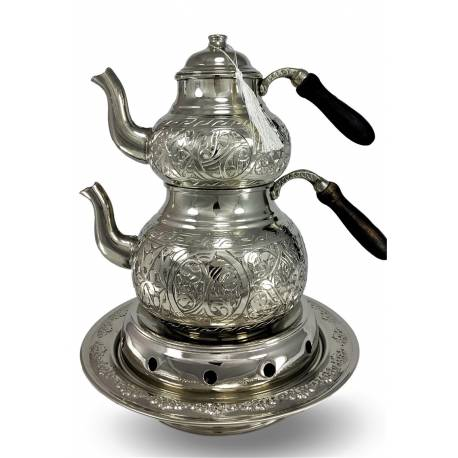 Heavy chisel copper teapot and large Ottoman quarry