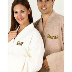 Personalized, Embroidered Cotton Turkish Bathrobe Set