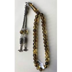 Genuine Baltic Amber Fossil Soil Rosary with 925 Silver Tassel 12 g