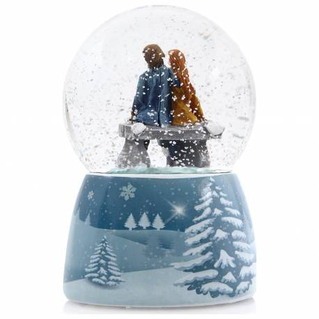 Romantic Lovers Color Changing Luminous Music Snow Globe